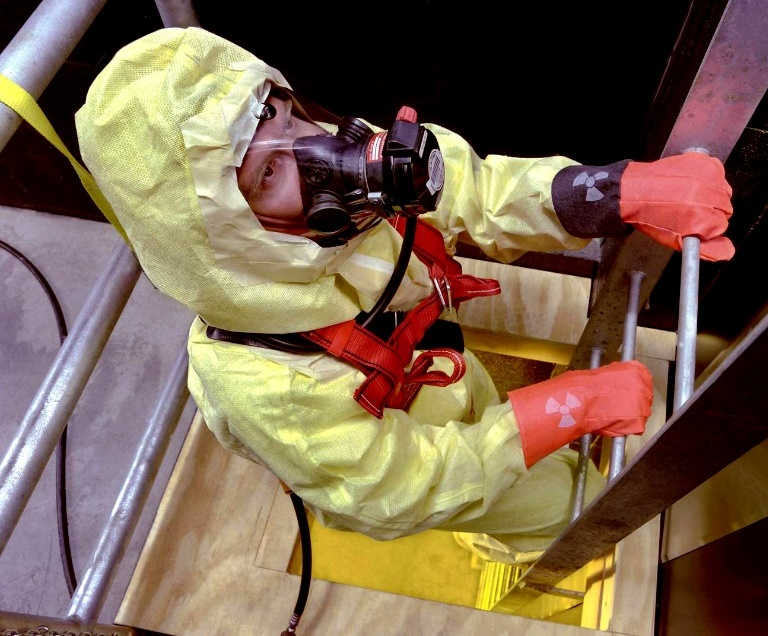 A Hanford Site worker participates in a realistic training scenario.