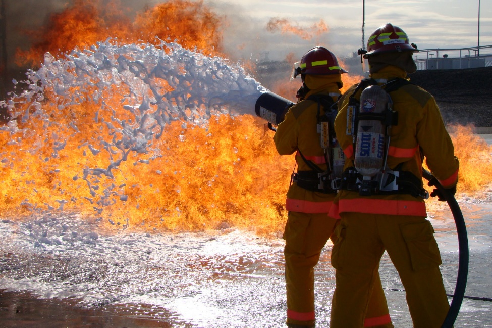 Firefighters utilize the Flammable Liquids Burn Pad to conduct live fire training.