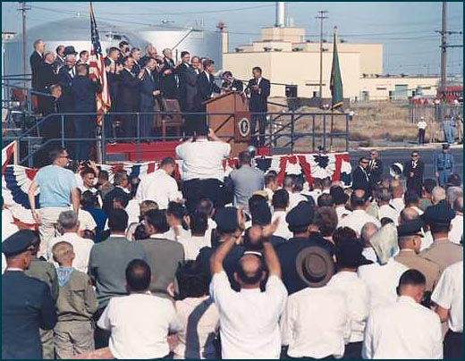 President John F. Kennedy visited the Hanford Nuclear to dedicate the groundbreaking of the steam generator for the N-reactor